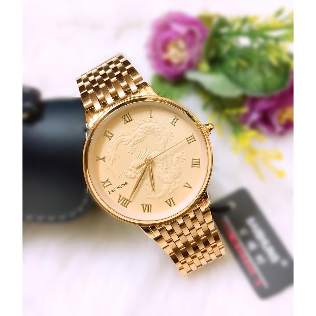Đồng hồ cặp đôi Baishuns Long Phụng Full Gold son sắt tình duyên