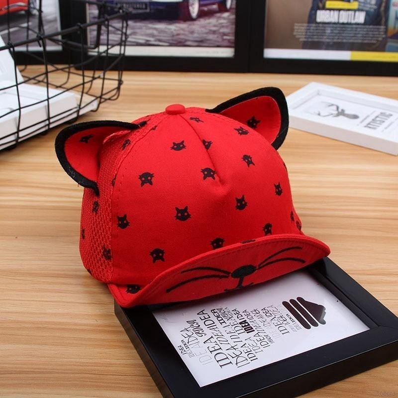 BOBORA  Baby Summer Hat Lovely Cartoon Cat Ear Sun Hat Kids Baseball Cap