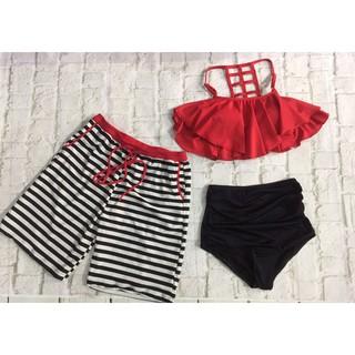 Set đôi nam nữ mặc đi biển tông đỏ đen đẹp ( Ảnh chụp thật 100%)