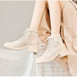 Girls' boots middle heel boots Korean fashion net red single shoes versatile casual boots women's shoes