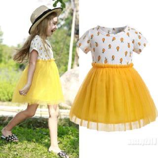 Mu♫-Summer Baby Girls Fruits Print Casual Dress Princess Party Pageant Tutu Dresses