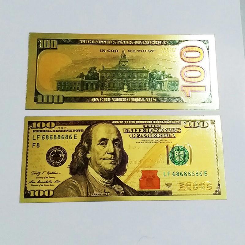 Tờ Tiền 100 Đô Mạ Vàng Plastic - Quà Lưu Niệm