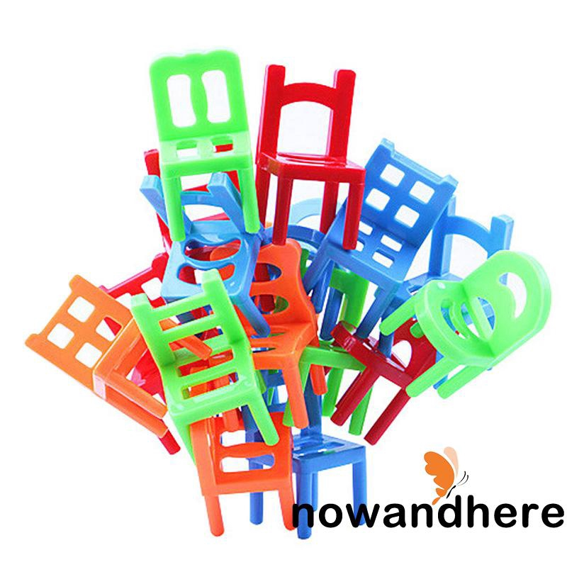V.R-18pcs Balance Stacking Chairs Kids Children Family Play Game Education Toys