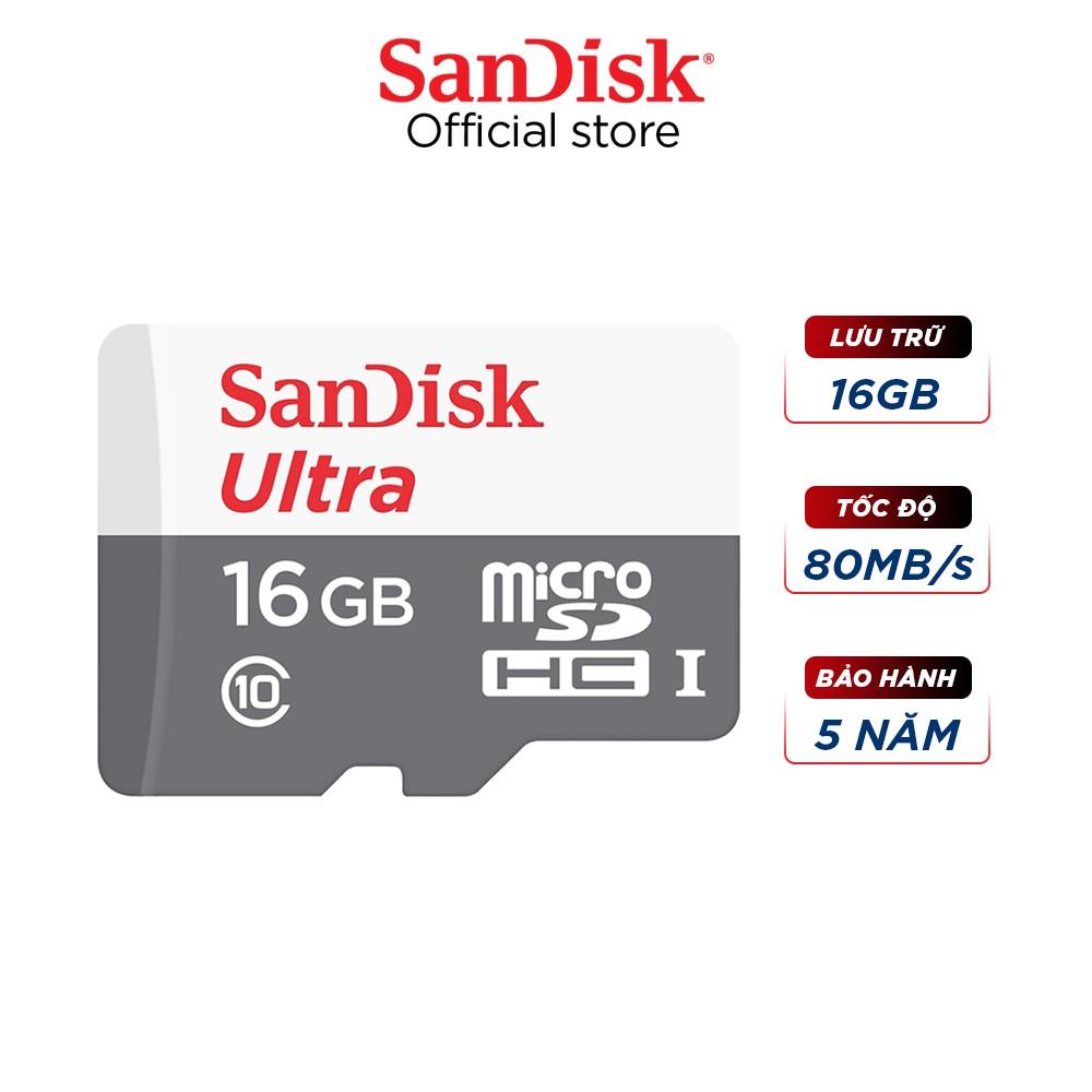 Thẻ nhớ microSDHC Sandisk 16GB upto 80MB/s 533X Ultra UHS-I - Hãng phân phối chính thức