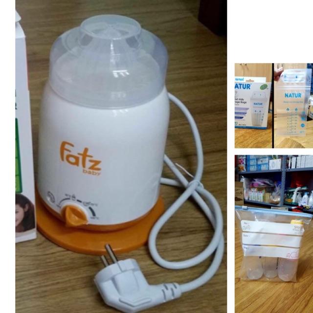 Combo gồm 1 máy hâm sữa đơn 4 chức năng, 2 hộp túi trữ natur, 2 hộp zip sunmum