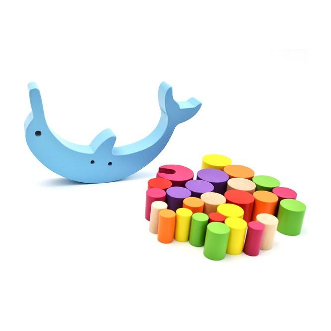 Đồ chơi gỗ thông minh xếp các khối trụ thăng bằng lên cá heo