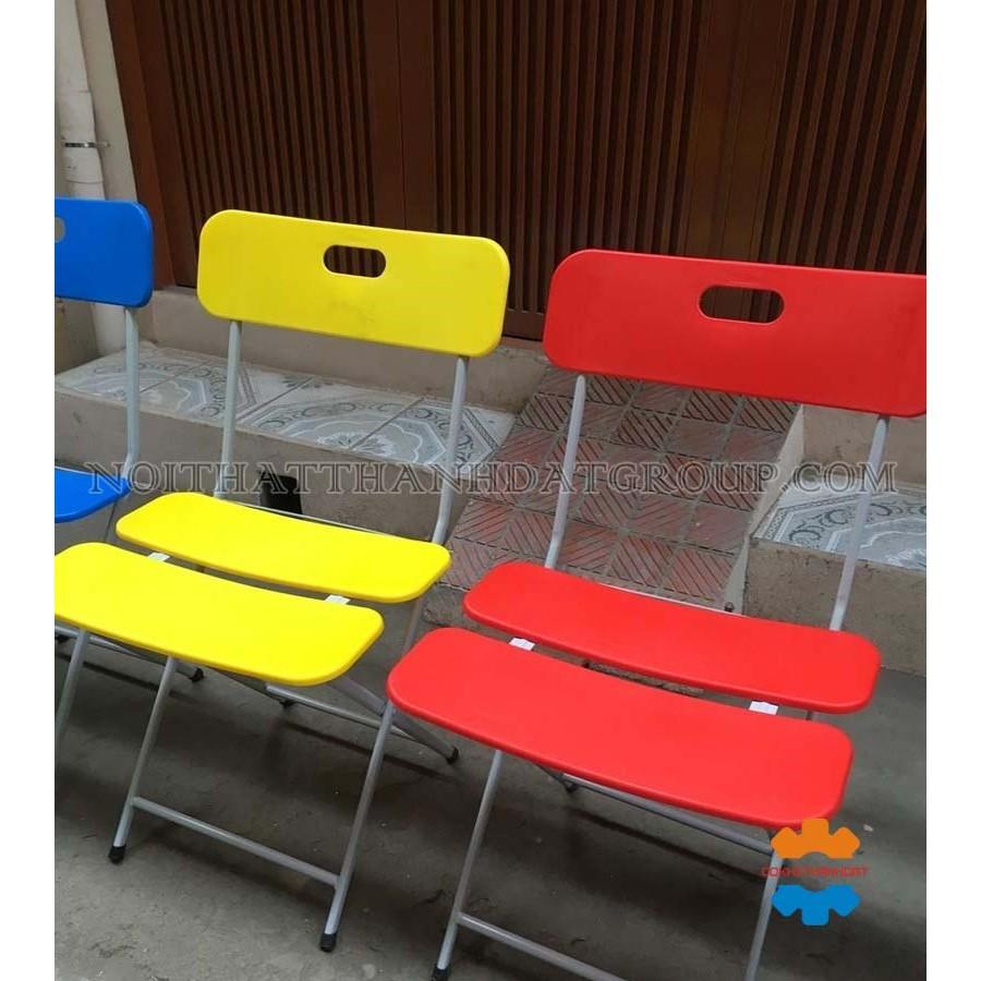 GHẾ GẤP 3 LÁ Nhựa Chân Sắt mảnh nhựa dẻo Cao Cấp Chính Hãng cho Quán Cafe, Văn Phòng, Gia đình phòng ăn