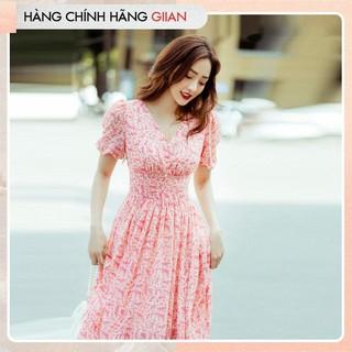 Giian - Đầm xòe hoa nhí cổ chữ V nữ tính, Váy voan cổ V dáng dài nhẹ, mát - Passion Dress - thiết kế chính hãng - V2251 thumbnail