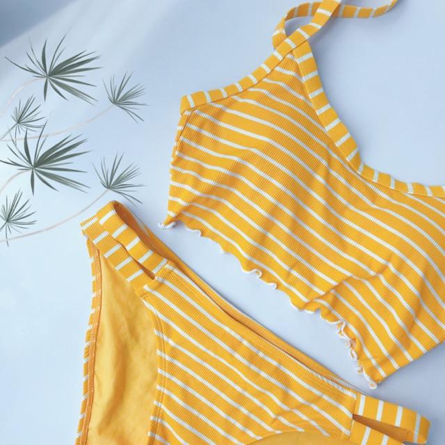 Đồ bơi 2 mảnh Bikini Stripe Yellow Xhilaration, hàng xuất dư USA xịn