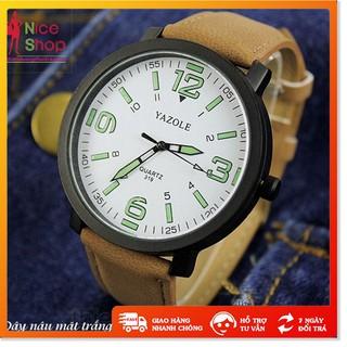 Đồng hồ Yazole cặp dây da thời trang - Xả Kho - Đồng hồ đôi nam nữ dây da thật mặt kính chống xước thumbnail