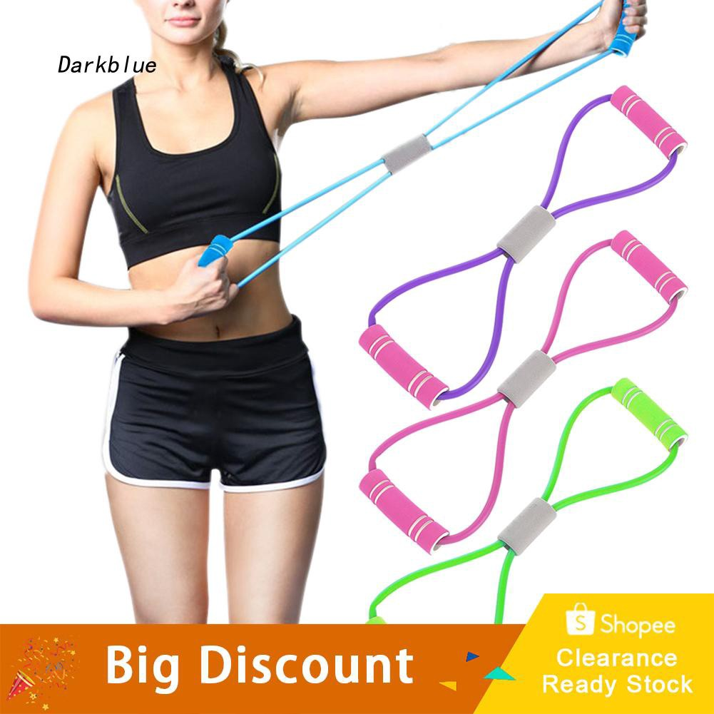 DKBL_8-Shape Gym Workout Yoga Exercise Resistance Rope Loop Bands Train Fitness Tool