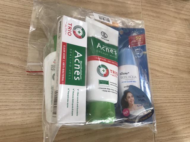 Đánh giá sản phẩm Bộ sản phẩm chống nắng ngừa mụn Sunplay Acnes (Sữa chống nắng 25g + Kem rửa mặt 100g + Dung dịch 90ml + Gel ngừa mụn 18g của piecepig