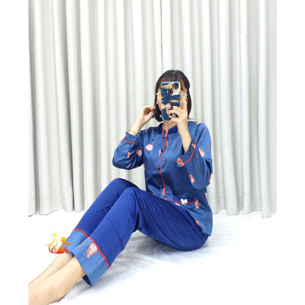"""Mặc gì đẹp: Ngủ ngon với Đồ Mặc Nhà Pijama Satin Lụa Tay Dài Cao Cấp - """"Cổ trụ nằm Trái Dâu"""" Siêu Mát - Dưới 60kg"""