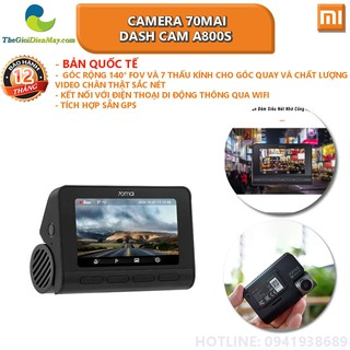 [Bản quốc tế] Camera 70mai Dash cam A800S - Bảo hành 12 tháng - Shop Thế Giới Điện Máy thumbnail