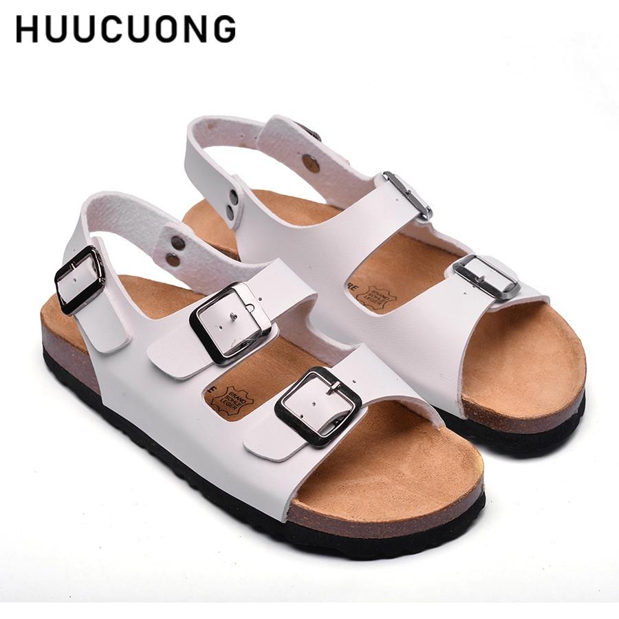 Sandal HuuCuong -2 khóa đế trấu( trắng)