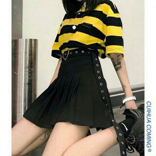Chân Váy Xếp ly Kaki đen Chữ A Dáng ngắn Váy Thiết Kế xếp ly uzzlang