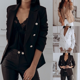 Coat Button Comfortable Long Sleeve Slim Business Tops Women White/Khaki/Black Fit Blazer Casual OL Work Outwear