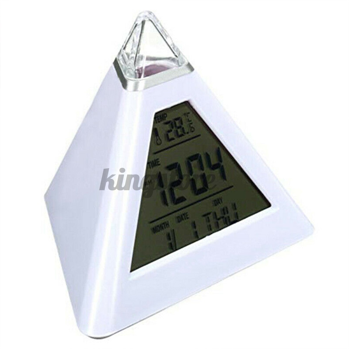 3.9x3.9x4in LCD 7 Colour Changing Triangle Digital Alarm Clock Night Light Bedside Desk Lamp