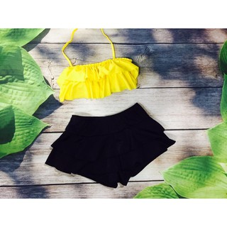 Bikini hai mảnh áo bèo vàng quần đùi đan hông sexy mặc đi biển đi bơi- Đảm bảo 100% như hình