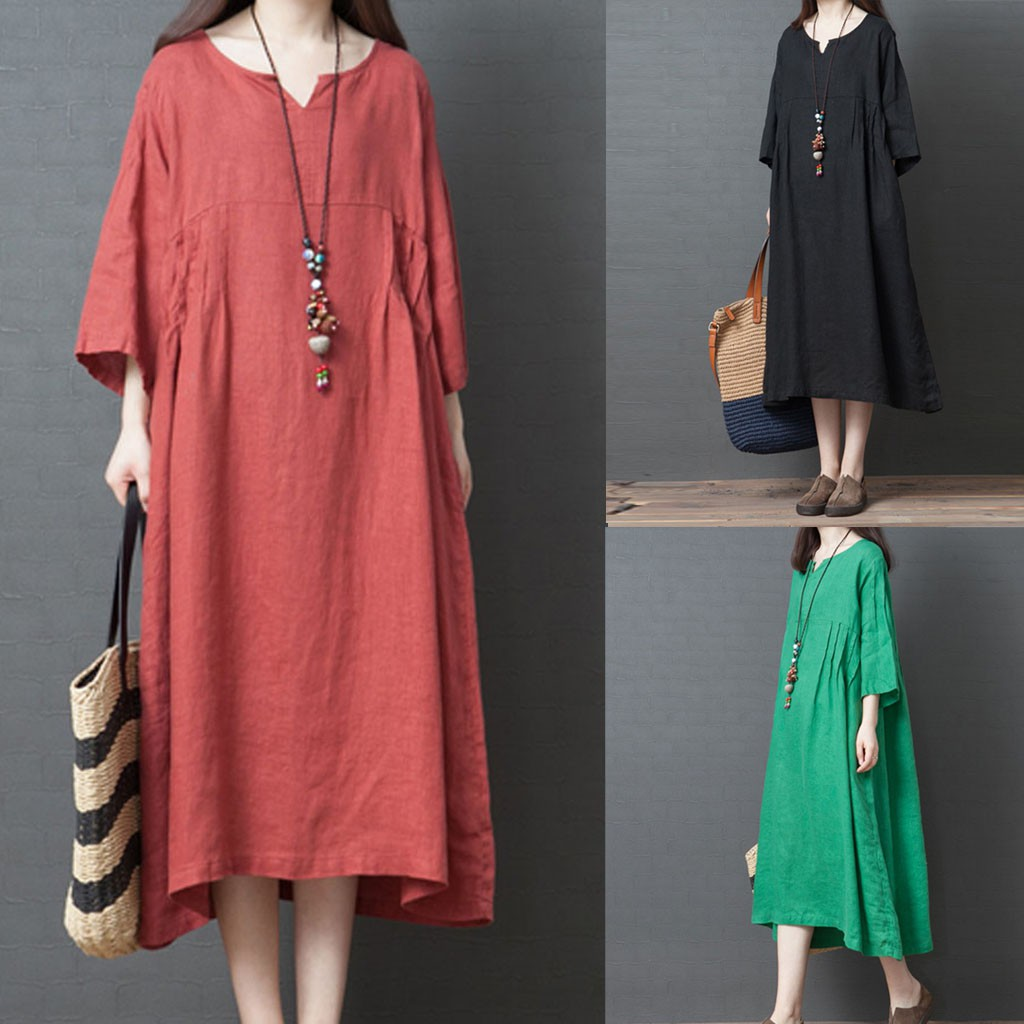 ❤leeesins❤ Women O-Neck Solid Color Three Quarter Sleeve Cotton And Linen Loose  Dress