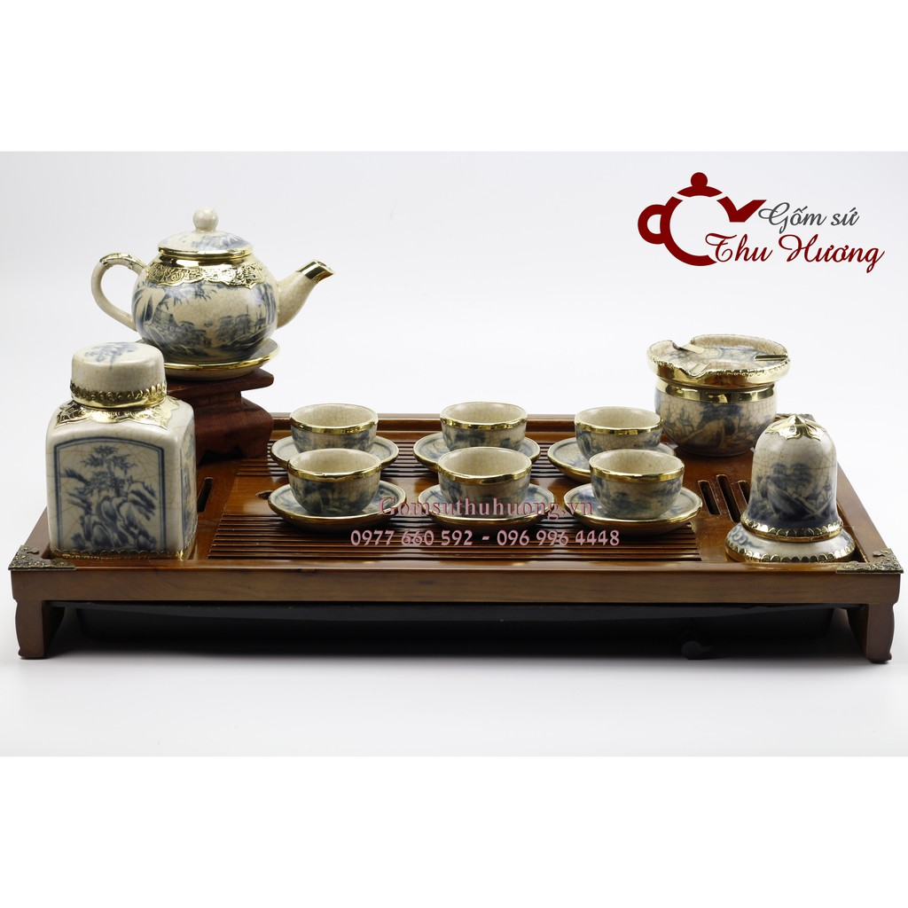 Bộ trà sứ Bát Tràng_ Bộ ấm chén men rạn giả cổ bọc đồng dáng Hồng kèm phụ kiện