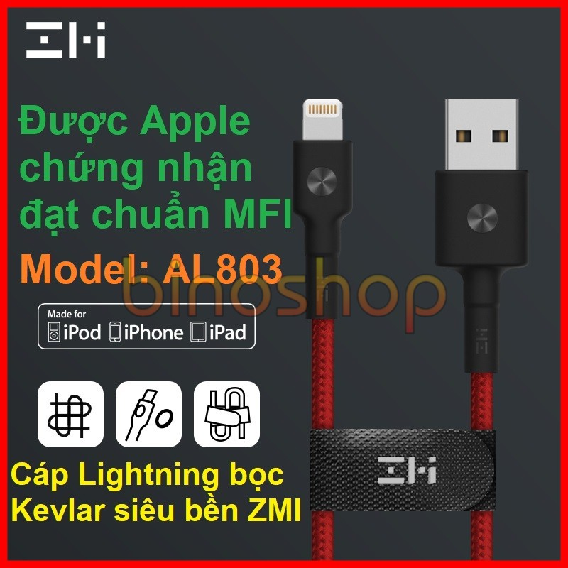 Cáp sạc Lightning siêu bền bọc Kevlar chuẩn MFI - Xiaomi Zmi AL803 - 3267987 , 778264150 , 322_778264150 , 229000 , Cap-sac-Lightning-sieu-ben-boc-Kevlar-chuan-MFI-Xiaomi-Zmi-AL803-322_778264150 , shopee.vn , Cáp sạc Lightning siêu bền bọc Kevlar chuẩn MFI - Xiaomi Zmi AL803