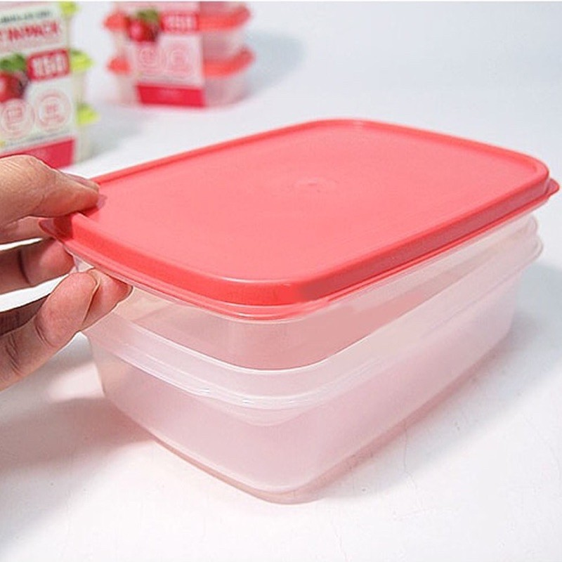 Hộp nhựa đựng thực phẩm nắp dẻo Fit in Pack 300ml 600ml 900ml 1350ml 2200ml Nhật Bản dùng được lò vi sóng