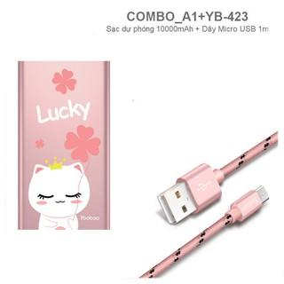 COMBO Sạc dự phòng 10000mAh và dây sạc Micro USB 1-1.5m YOOBAO - CBO A1 423