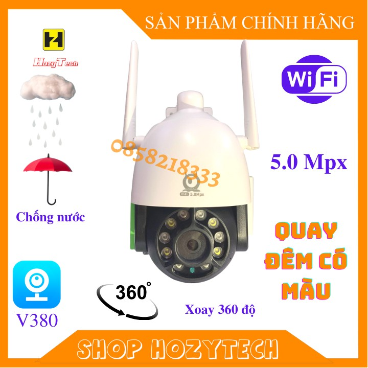 Camera WIFI V380 PRO 5.0Mpx C12HD 5mpx 2560x1440p xoay 360 độ chống nước, đêm có màu