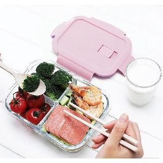 [3 ngăn] Hộp cơm thủy tinh chia ngăn, hộp cơm văn phòng đựng thức ăn cao cấp