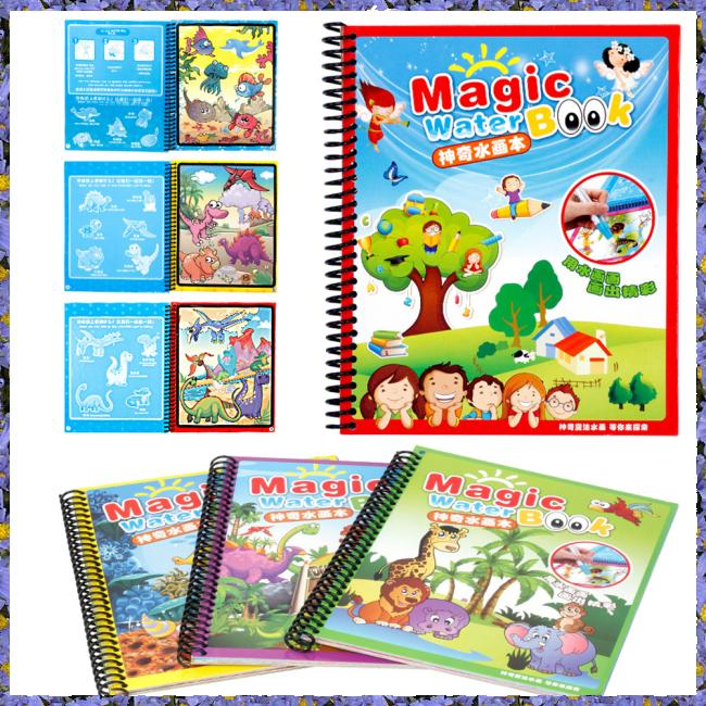 Kids Magical Water Drawing Book Reusable Water Painting Coloring Book Educational Draw Book with Magic Doodle Pen
