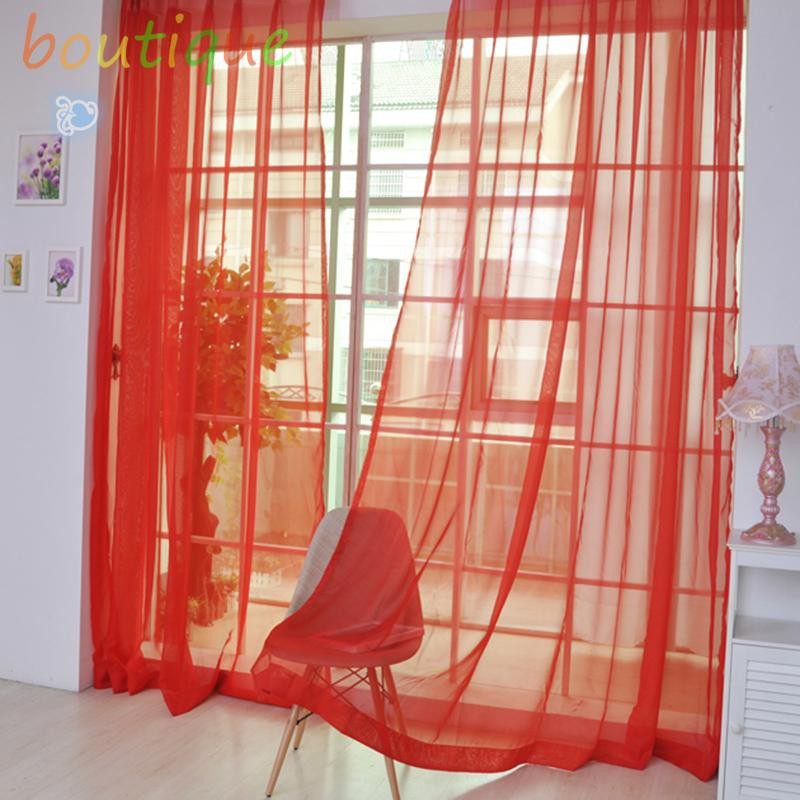 bou^♫2pcs Tulle Curtains Window Living Room Sheer Voile Curtains Home Decoration☆