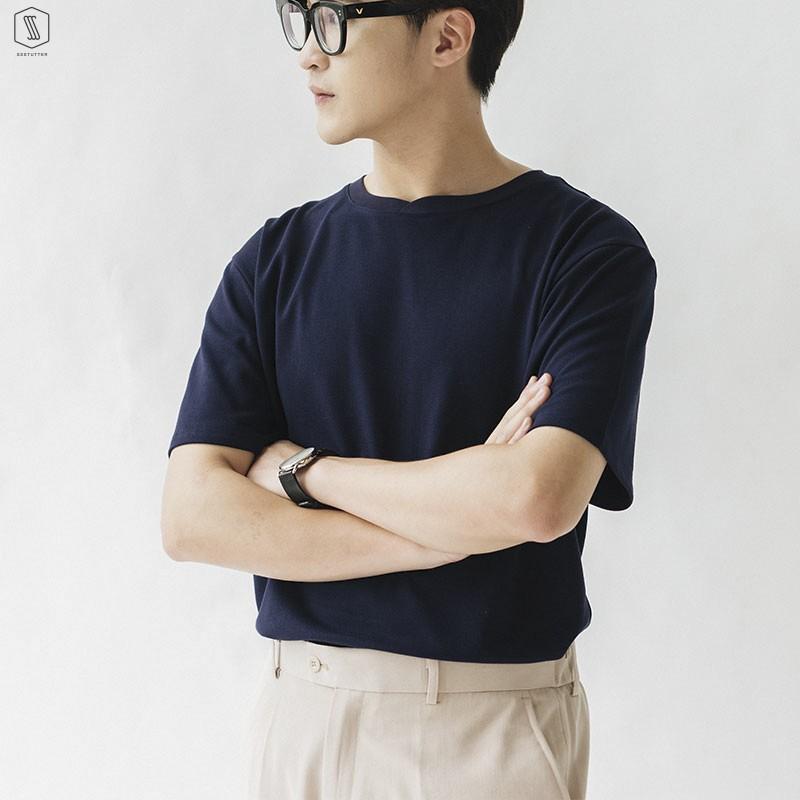 Áo Phông Trơn Unisex Basic SSSTUTTER cổ tròn ngắn tay chất cotton thoáng mát 4 màu tay ngắn Peak Tee