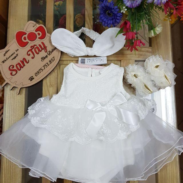 Bộ bé gái - Combo váy, giày ren, băng đô tai thỏ c