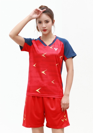 2021 New Arrival victory Badminton Clothes Breathable Quick-Dry Stripe Jersey Shirts+Shorts woman Sets Couple Sets red bule