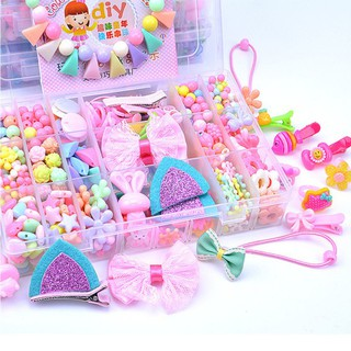 Girls Colorful Large 24 Grids Beads Kit Educational Toys Jewellery Hair
