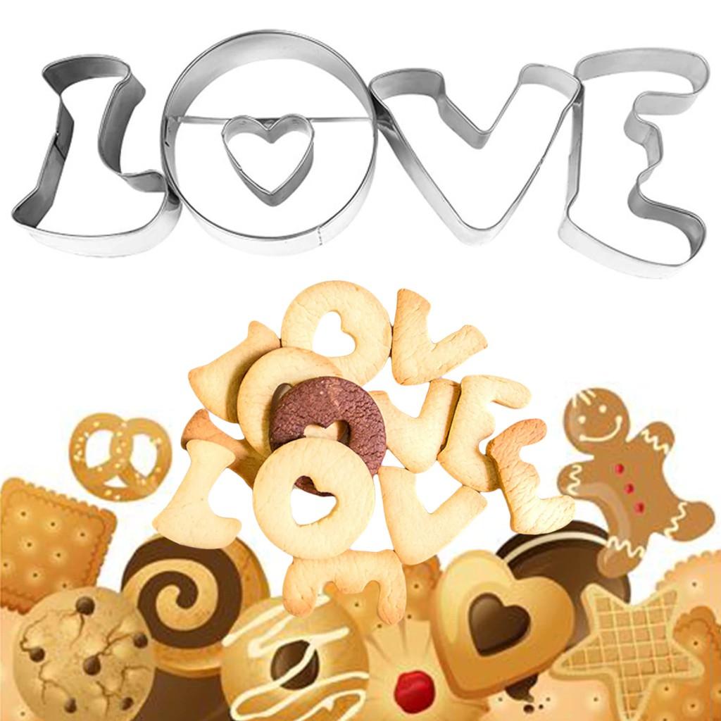 4 Khuôn Cắt Bánh Quy Hình Chữ Love Bằng Thép Không Gỉ