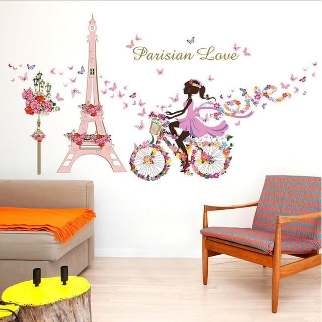Decal dán tường paris love