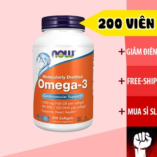 Omega 3 Dầu Cá Now Omega 3 200 Viên - Vitamin Bổ Mắt Sáng Mắt - Muscle Fitness thumbnail
