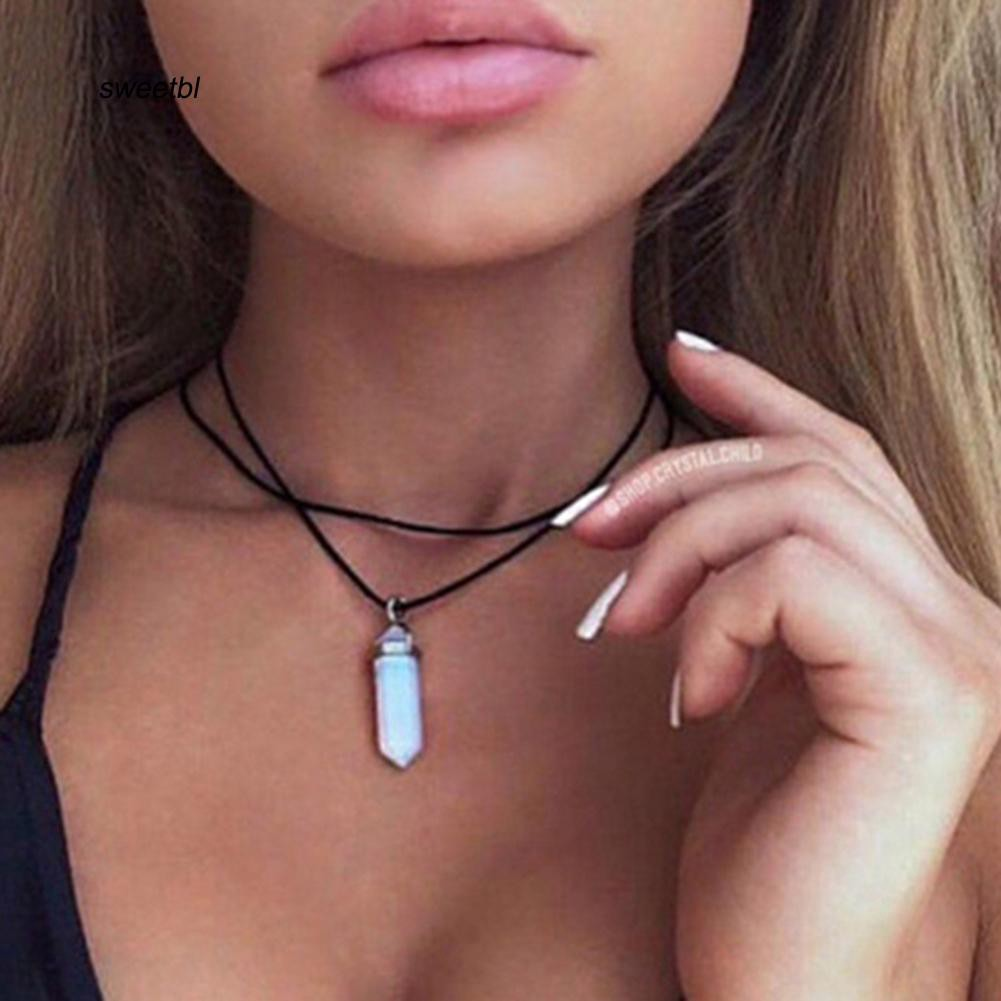 SWTB_Women Double Layer Faux Leather Rope Hexagonal Prism Stone Pendant Necklace