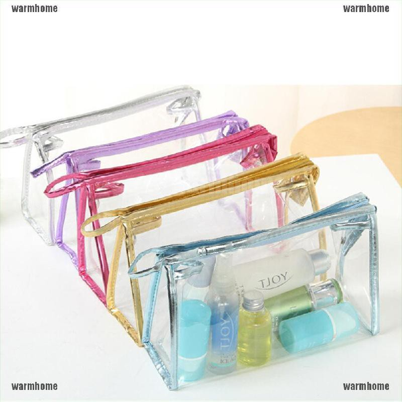 [warmhome]Details about 1 5 10 Clear Transparent Plastic PVC Travel Cosmetic Make Up Toiletry Bag Zipper