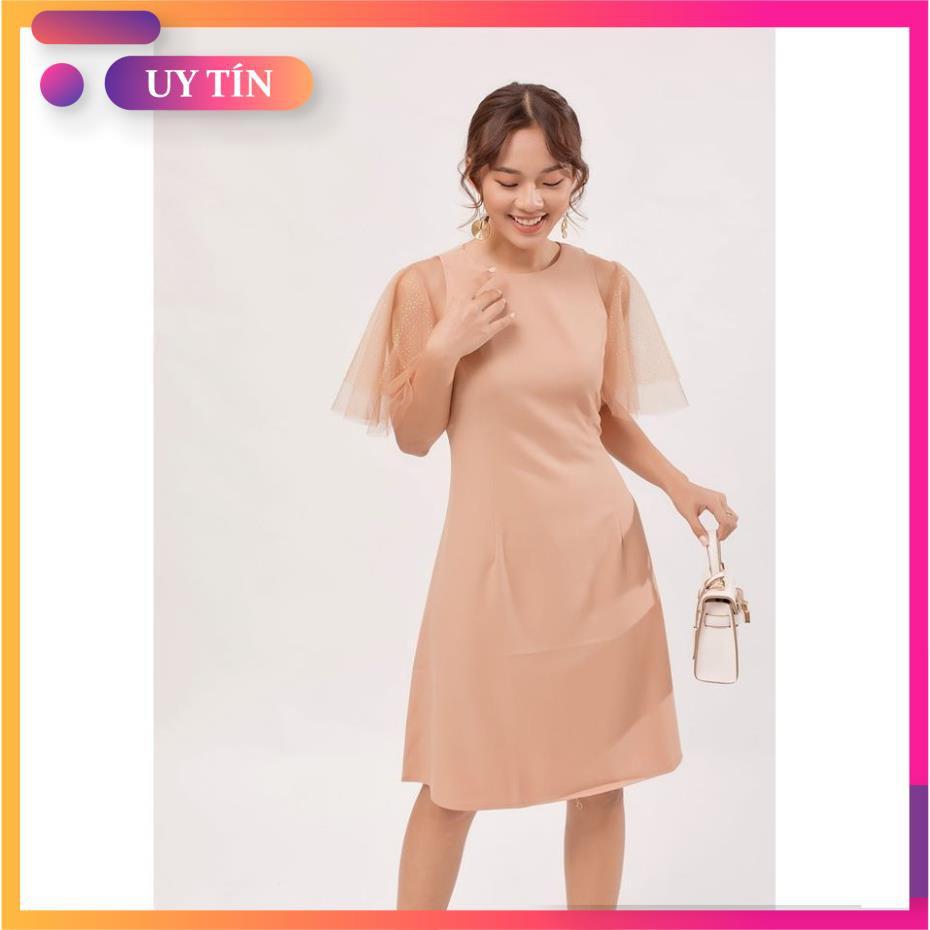 Đầm suông, váy suông phối tay lưới 2 tầng , mẫu đầm suông công sở trẻ trung thanh lịch, full size.