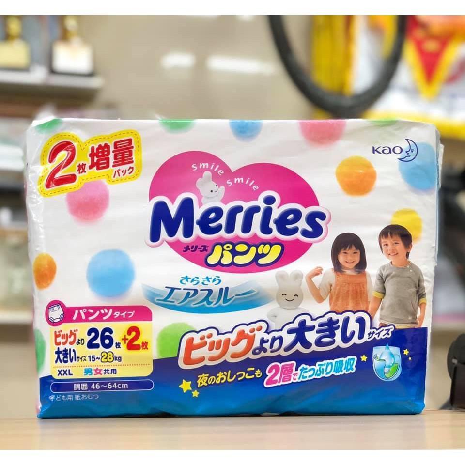 Bỉm Merries nội địa Nhật cộng miếng quần/dán NB96/S88/M68/L50/XL44/XXL26