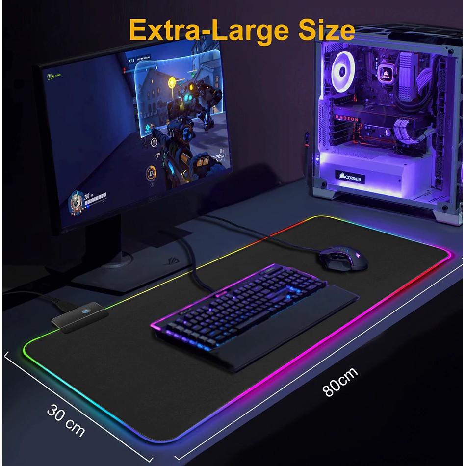 Lót chuột gaming, pad chuột RGB dày 4mm điều chỉnh đa màu sắc