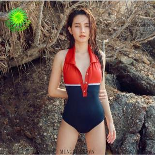 2020 one piece backless red retro fashion woman sports swimsuit