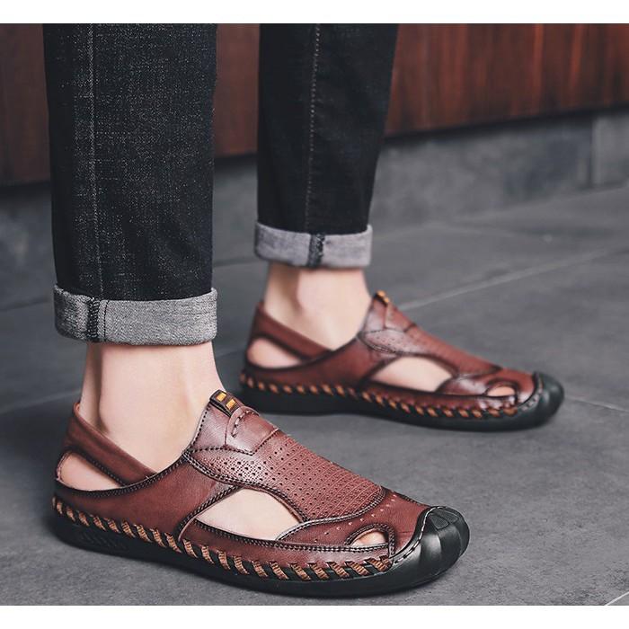 [Freeship] Giày dép nam cao cấp chất liệu da bò thoáng khí kiểu dáng mạnh mẽ cá tính. [rẻ vô địch]