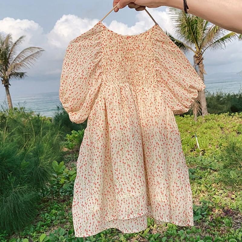 Đầm Tay Phồng In Hoa Kiểu Hàn Quốc Thời Trang Mùa Hè Cho Bé Gái