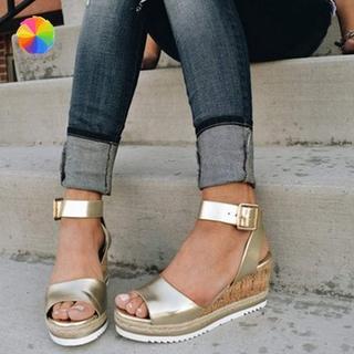 Giày Sandal Đế Xuồng Hở Ngón Quai Cài Thoải Mái Chống Thấm Nước Cho Nữ