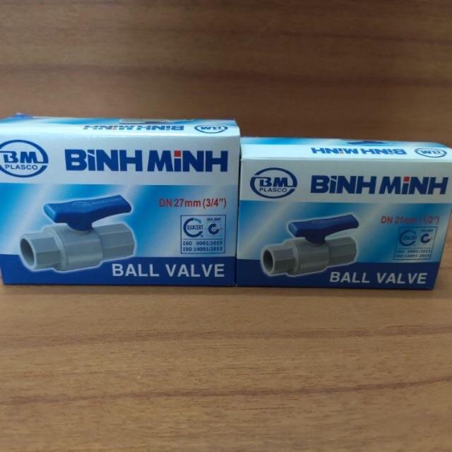 Van khoá nước, van cầu nhựa PVC Bình Minh (phi 21-27-34) - Tặng kèm keo lụa