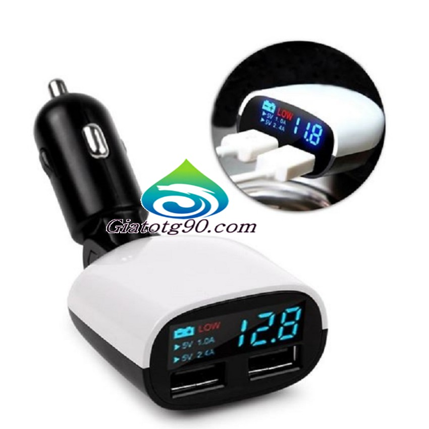 Tẩu sạc ô tô hiển thị đèn LED thông minh
